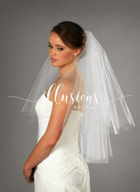 Illusions Bridal Veils Style C1-302-CT - 2 Tier cut edge