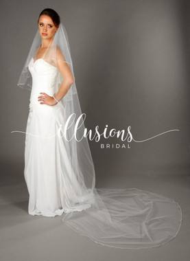 "Illusions Bridal Veils Style C7-1082-NSR - 30""x108"" Narrow sheer ribbon (72"" w, circular cut)"