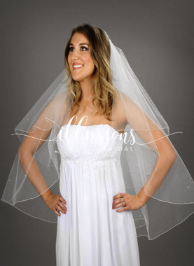 "Illusions Bridal Veils  Style Number: C1-362-C-P - 30""x36"" Corded with pearls (108"" wide, circular)."