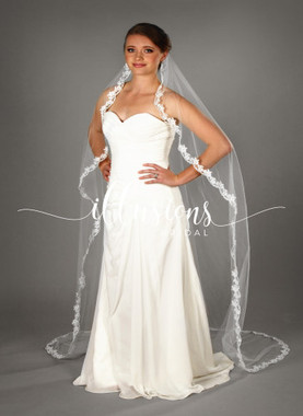 "Illusions Bridal Veils Style Number: C7-901-12L 90"" (72"" wide, circular, 1 1/2"" lace)."