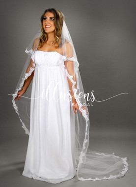 "Illusions Bridal Veils Style Number: C7-902-8L 30""x90"" - (72""wide, circular, 2 1/4"" lace)."