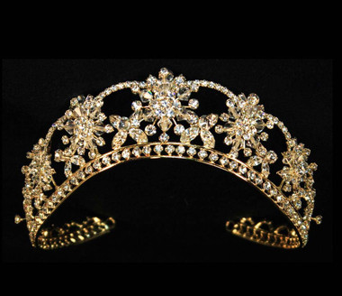 Noelle & Ava - Magnificent Dimensional Tiara With Front Row Crystal Accented Rhinestone Flowers And Base Row Marquise Flowers Under Rhinestone Arches  - Gold