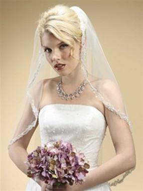 Rhinestone Edge Mantilla Wedding Veil with Floral Applique