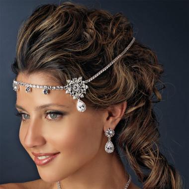 Silver Clear Round Rhinestone Kim Kardashian Inspired Floral Bridal Headband Headpiece