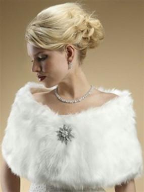 MARIELL FAUX FUR BRIDAL WRAP WITH WHITE FOX STYLE 116W