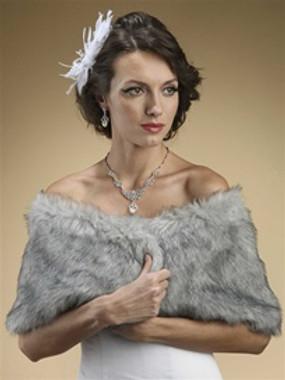 Faux Fur Wrap in Grey Chinchilla Style 116GR