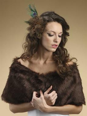 Faux Fur Mink Brown Fox Wrap Style 116BRWN
