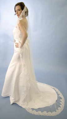 Ansonia Bridal Veil  Style 476 - Cathedral length mantilla veil with beaded alencon lace edge