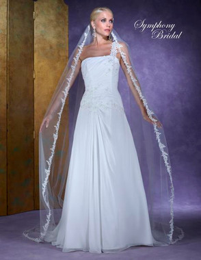 Symphony Bridal Veil - Style 6130VL -Cathedral Lace Embroidered Edge Veil