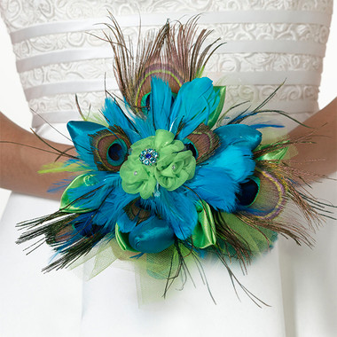 Lillian Rose Peacock Feather Bouquet