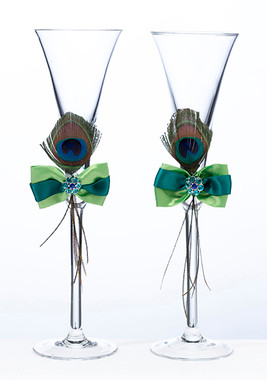 Peacock Feather Toasting Glasses G234