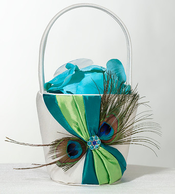 Peacock Feather Flower Basket FB234