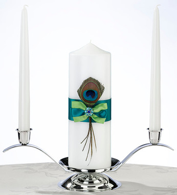 Peacock Feather Pillar Candle and Two Tapers WS234