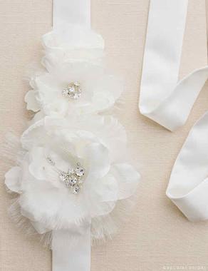 Bel Aire Bridal Belt BT034 - Satin and Organza Flower Belt