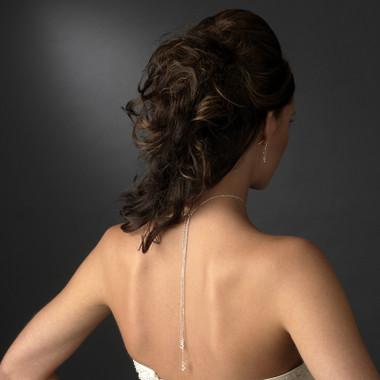 Stunning Swarovski Crystal Lariat Back Drop Necklace
