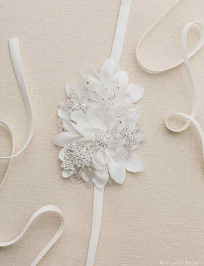 Bel Aire Bridal Belt BT040 - Satin Flower Belt