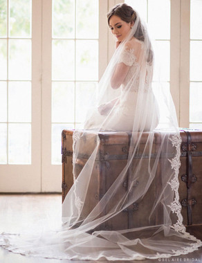 "Bel Aire Bridal Veils V7034C - Cathedral -72"" rolled edge (Photo shown is only 22"" inch of rolled Edge)"