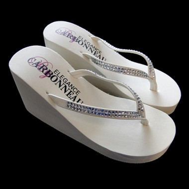 Crystals ~ High Wedge Bridal Flip Flops with Crystal Accented Suedene Strap