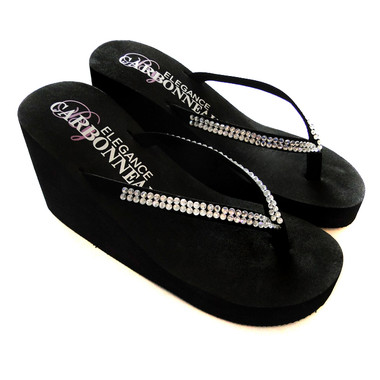 Black ~ High Wedge Bridal Flip Flops with Crystal Accented Suedene Strap