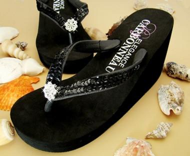 Breeze ~ Black High Wedge Bridal Flip Flops with Sequins & Crystals