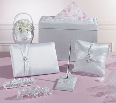 White Rhinestone Wedding Set in a Card Box
