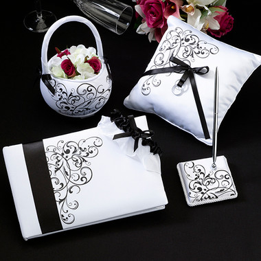 Black Scroll Wedding Set