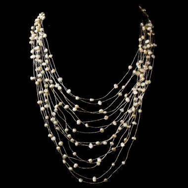 14 Strand Silk w/ Freshwater Pearl Necklace 7828