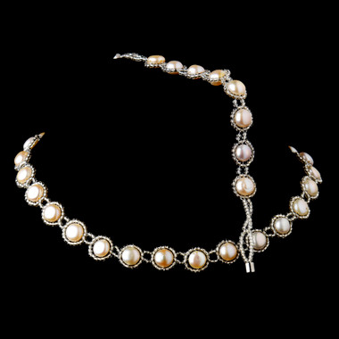 Natural Freshwater Pearl Necklace & Magnetic Clasp Bracelet