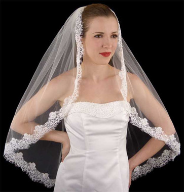 LC Bridal Style V2245-398-Fingertip Chantilly Lace Veil