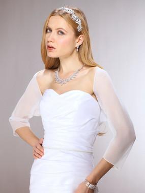 3/4 Sleeve Chiffon Wedding Bolero Jacket - White