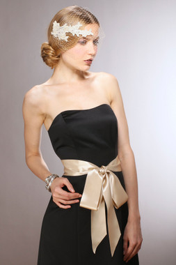 Champagne Double Sided French Satin Ribbon Sash