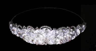 Noelle & Ava - Crown Of Satin Fans Accented With Rhinestones, Tear Drop Pearls And Round Pearls