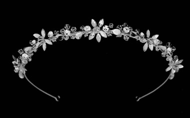 Noelle & Ava - Fascinating Hand-Wired Floral Head Band Of Marquise And Crystal Flowers With Rhinestone Accents