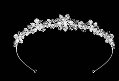 Noelle & Ava - Dazzling Hand Wired Orchid Lei Tiara Head Band With Large Brilliant Marquise And Tear Drop Out Rhinestones And Luminous Crystals