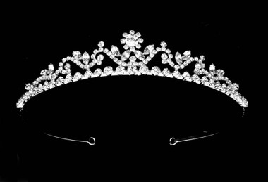 Noelle & Ava - Classic Rhinestone Tiara With Large Flower Center And Marquise On Top Of Swirls