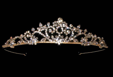Noelle & Ava - Beautiful Ceremonial Rhinestone Tiara With Brilliant Crown Jewel And Marquis Crests On Paved Swirls