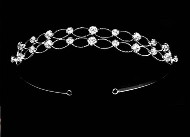 Noelle & Ava - Exceptionally Designed Head Band Of Oval Loops Highlighted With Double Row Brilliant Rhinestones