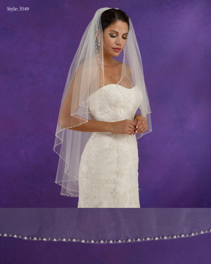 "Marionat Bridal Veils 3549 - 42"" Long angel cut veil with a beaded pearl edge - The Bridal Veil Company"