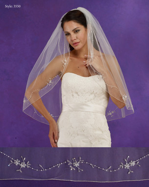 "Marionat Bridal Veils 3550 - 32"" Long beaded design with pearls, rhinestones and a silver rolled edge - The Bridal Veil Company"