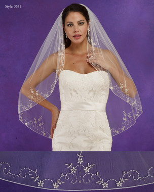 "Marionat Bridal Veils 3551 - 36"" Long pearl beaded design with a rolled edge - The Bridal Veil Company"