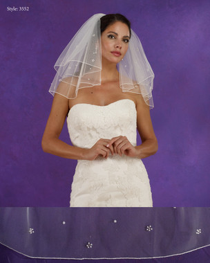 "Marionat Bridal Veils 3552 - 15""/18"" Long two tier veil with scattered pearls and rhinestones with rolled edge - The Bridal Veil Company"