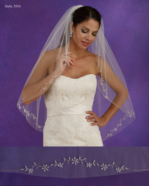 "Marionat Bridal Veils 3554 - 36"" Long beaded design - The Bridal Veil Company"