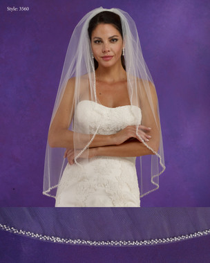 "Marionat Bridal Veils 3560 - 36"" Long beaded edge - The Bridal Veil Company"