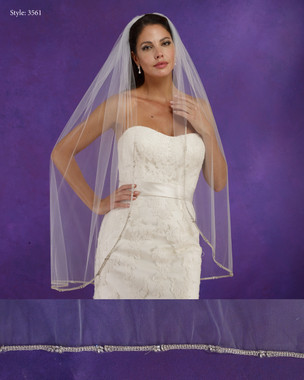"Marionat Bridal Veils 3561 - 42"" Long rhinestone edge - The Bridal Veil Company"
