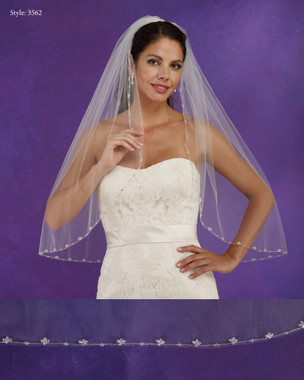 "Marionat Bridal Veils 3562 - 32"" Long crystal beaded edge - The Bridal Veil Company"