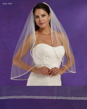 "Marionat Bridal Veils 3563 - 32"" Long beaded edge - The Bridal Veil Company"