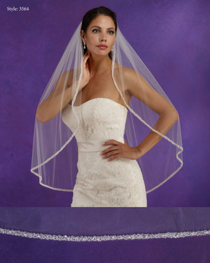 "Marionat Bridal Veils 3564 - 36"" Long crystal edge - The Bridal Veil Company"