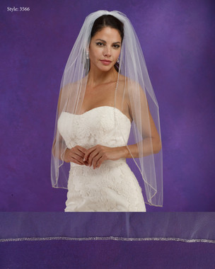 "Marionat Bridal Veils 3566 - 36"" Long beaded edge - The Bridal Veil Company"