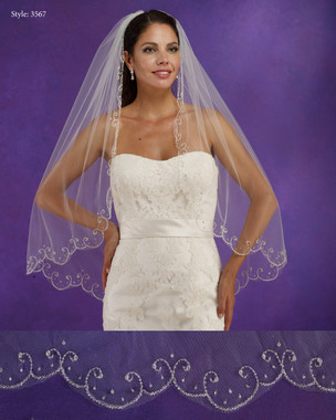 "Marionat Bridal Veils 3567 - 36"" Long Scalloped beaded swirl edge - The Bridal Veil Company"