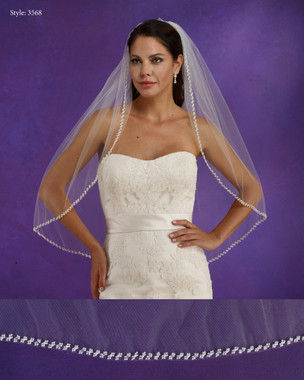 "Marionat Bridal Veils 3568 - 34"" Long beaded pearl edge - The Bridal Veil Company"